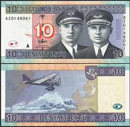 Литва 2007 г. 10 лит UNC AZ Replacement